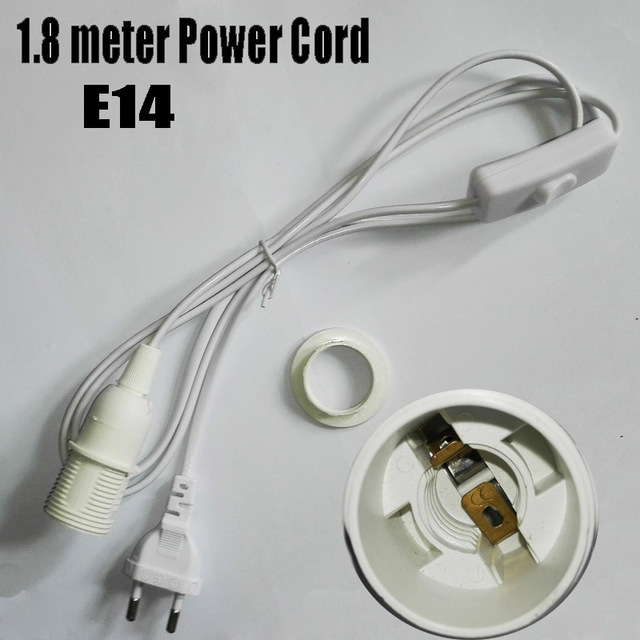 1.8m Power Cord Half Spiral E14 LED Lamp Holder, Round Plug and Switch, No Greater Than AC250V 2A