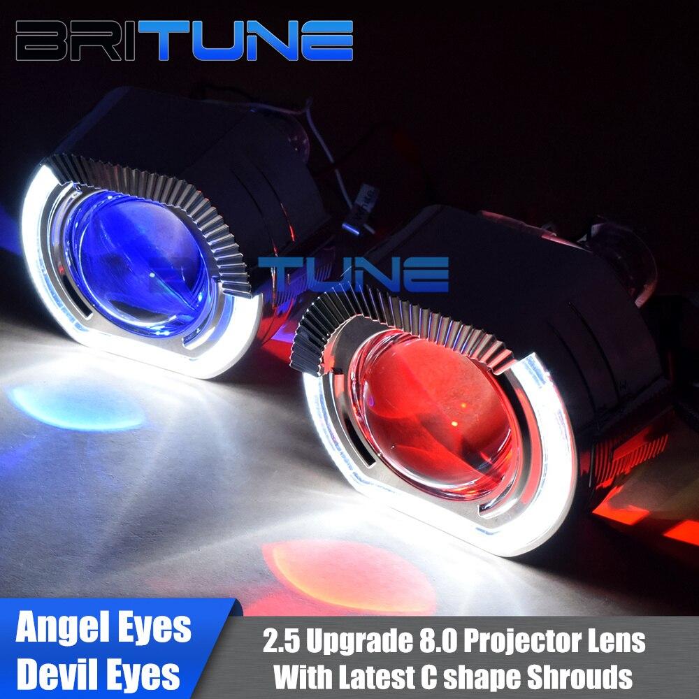 Upgrade 8.0 Bi-xenon Projector Lens With C-Shape LED Angel Devil Eyes Kit For H4 H7 Cars Headlight Retrofit Using H1 Xenon Bulbs bi xenon car led projector lens assembly for lexus rx300 rx350 rx330 with halogen headlight only retrofit upgrade 2000 2008