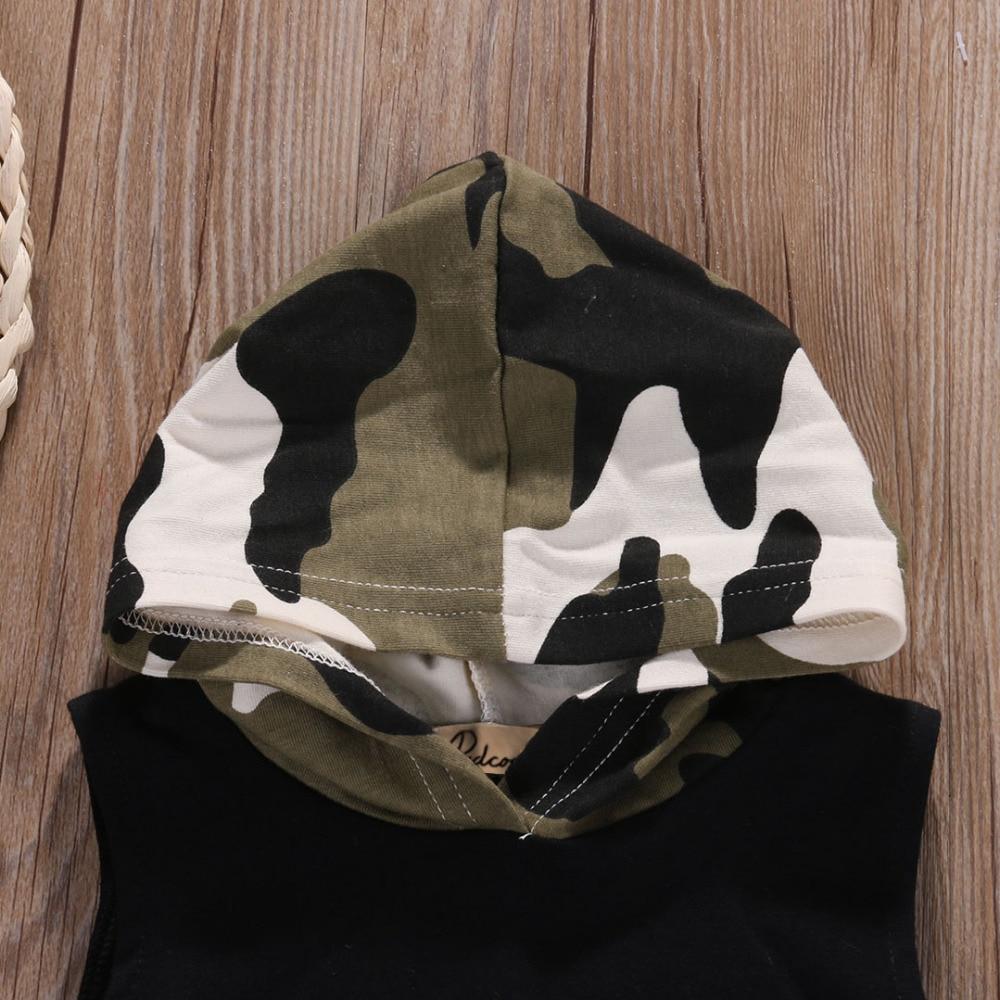 Newborn Infant Baby Boy Girl Clothes Set Hooded Vest Top + Short Pants Outfits Set 2pcs Suit Camouflage Baby Boy Clothes Newborn