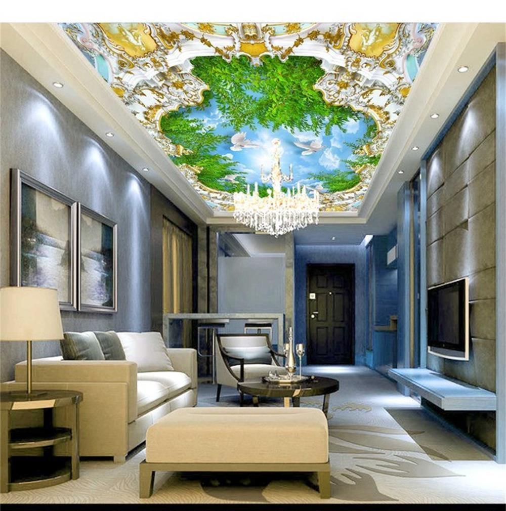 3D wallpaper ceiling/custom photo wall paper/blue sky white clouds dovesl/TV/sofa/Bedroom/KTV/Hotel/living room/Children room