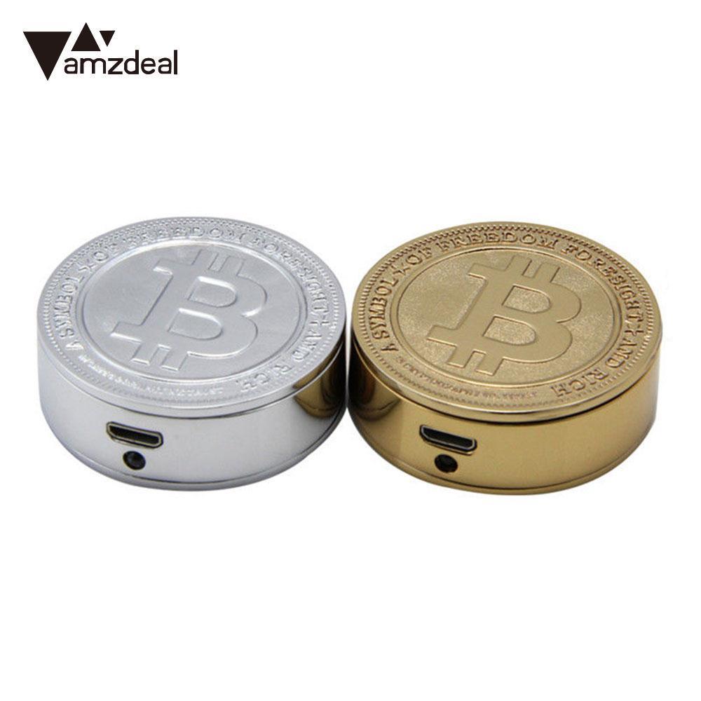 AMZDEAL 2017 Universal Bitcoin Electronic Commemorative Coin USB Cigarette Lighter Environmentally Friendly Men Gift Gadgets bitcoin commemorative coin 1pc