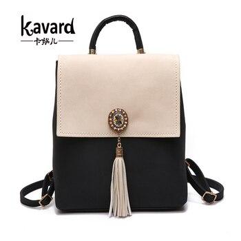 Kavard Tassel Women Small Backpack PU Leather Women's Backpack Fashion Shoulder Bag Female Backpack Cute School Bags for Girls