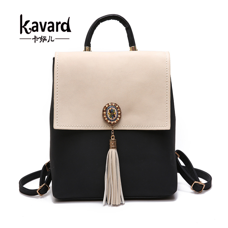 Kavard Tassel Women Small Backpack PU Leather Women s Backpack Fashion Shoulder Bag Female Backpack Cute