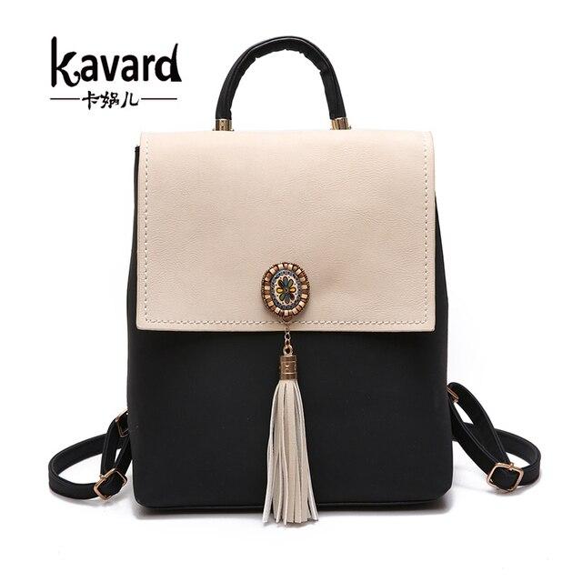 cde6f26f9772 Kavard кисточкой Для женщин маленький рюкзак из искусственной кожи Для  женщин мода рюкзак сумка женский рюкзак