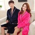 Amantes Robe Outono e Inverno Roupão de Flanela de Manga comprida Sleepwear Coral Fleece Roupão de Banho Salões Homewear Pijamas