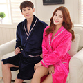 Long Sleeve Flannel Robe Autumn and Winter Bathrobe Lovers Sleepwear Coral Fleece Bathrobe Lounges Homewear Pyjamas