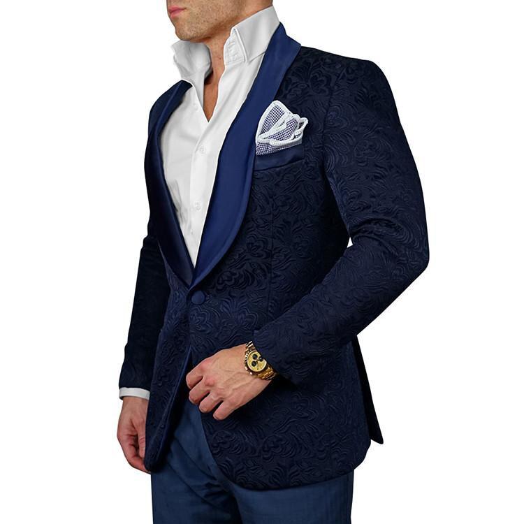 Синий Для мужчин S цветочный мужской костюм Slim Fit Пейсли Блейзер Для мужчин свадебные Смокинги для женихов Модные мужские Костюмы (куртка + б