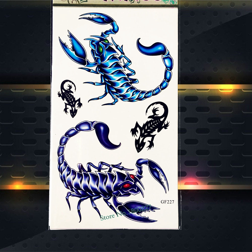 3D DIY Scorpions Kings Kids Temporary Tattoo Stickers Children Body Art Arm Tattoo Paste PGF227 Scorpion Waterproof Fake Tattoos
