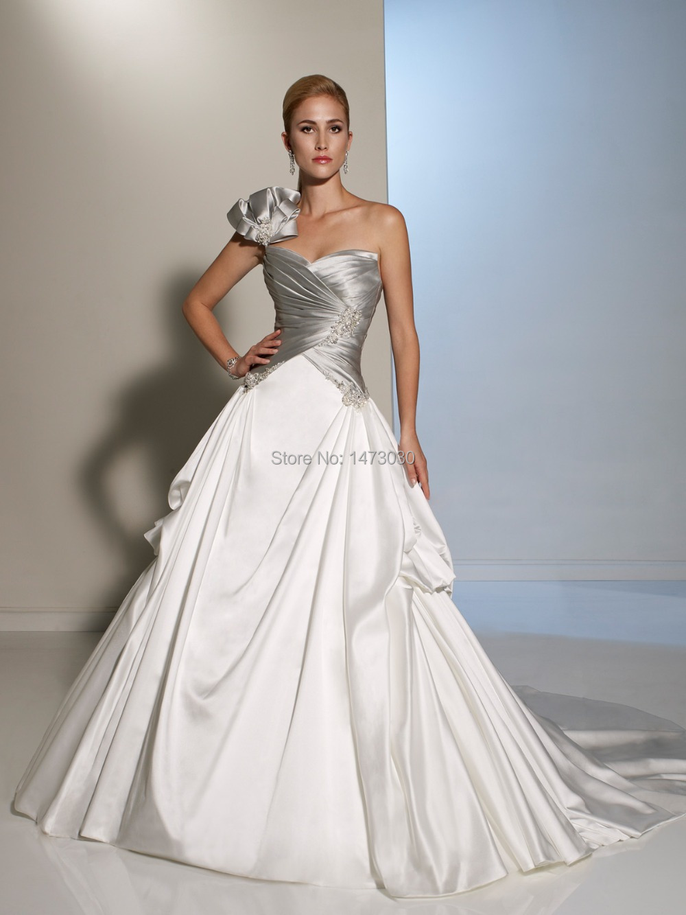 New design wedding dress a line single strap with big for Two color wedding dress