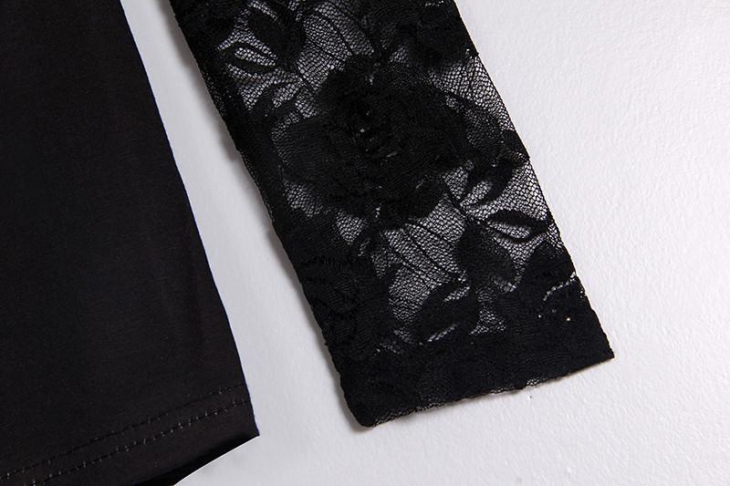 Mustad särgid pitsi ja pikkade varrukatega