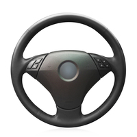 OLPAY Hand stitched Black Genuine Leather Soft Anti slip Steering Wheel Cover for BMW 530 523 523li 525 520li 535 545i E60