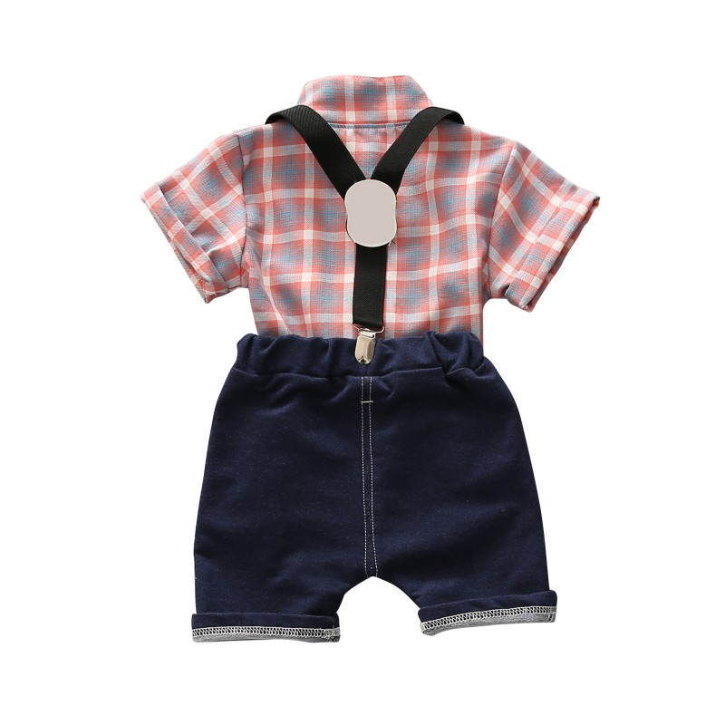 Summer Toddler Baby Boys Clothing Sets Short Sleeve Bow Tie Shirt+Suspenders Shorts Pants Formal Gentleman Suits 2018
