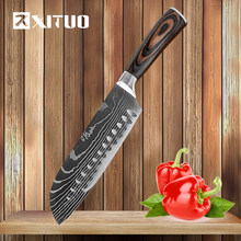 Kitchen Knife 7 Inch Chef Knives Japanese Utility Santoku Knife Meat Cleaver 7Cr17 420 High Carbon Stainless Steel Cutter Tool(China)