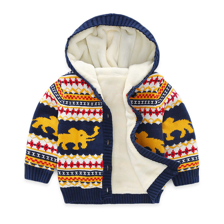 Children's sweater and upset Boy's sweater cardigan coat for winter Baby nap cloth cotton-padded clothes недорго, оригинальная цена
