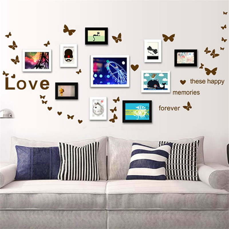 3 Colors Lovely Home Wall Decor Butterfly Love Heart English Letters ...