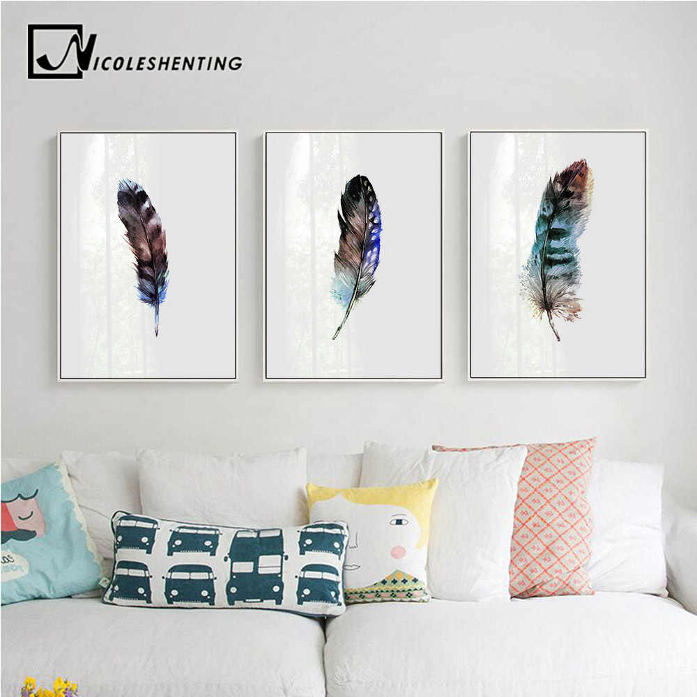 Nordic Style Watercolor Feathers Wall Art Canvas Posters Prints Minimalist Painting Wall Pictures for Living Room Home Decor
