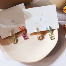 Korean Pearl Letter Love Asymmetric Earrings Color Millet Beads Cute Earrings все цены