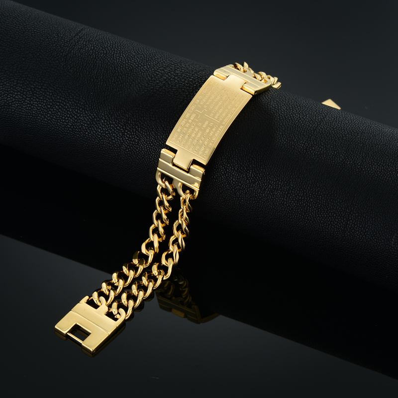 Unique Double Cuban Chain Link Bracelet Punk Male Gold Color Cross - Fashion Jewelry - Photo 5