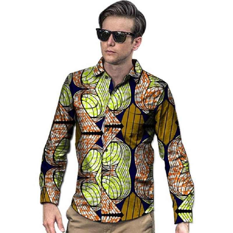 777474126c6 В африканском стиле футболка с рисунком для мужчин повседневная Анкара  рубашка Длинные рукава с отложным воротником