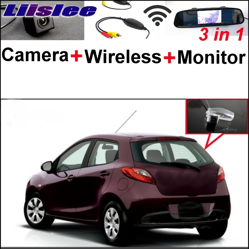 Liislee For Mazda 2 Mazda2 Demio Special Rear View Camera + Wireless Receiver + Mirror Monitor Easy DIY Backup Parking System