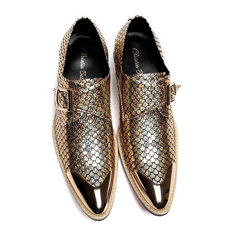 Correa Hombres Bella Negocios Italiano Zapatos Monje Oxfords Vestido Oro Glitter Pisos Christia Boda 1O5TnqvxOd