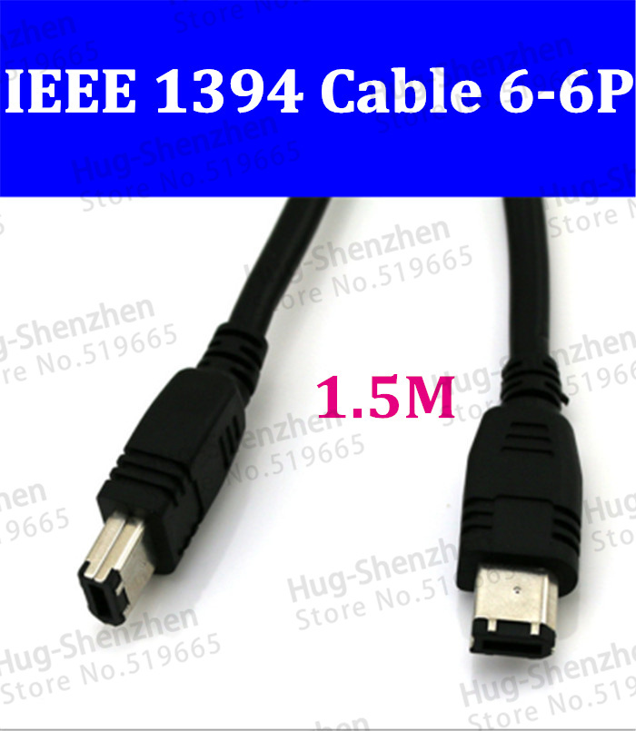 wholesale <font><b>IEEE</b></font> 1394 <font><b>Cable</b></font> 6Pin to 6 Pin Firewire 400 to 400 <font><b>1394b</b></font> 1.5M Black image