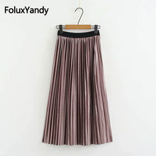2018 Autumn Winter Skirt Women Loose Pleuche Casual Midi Pleated Plus Size 3XL 4XL KKFY2519