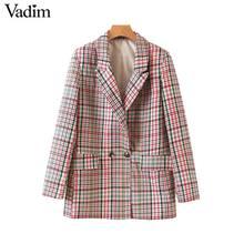 Vadim النساء شيك منقوشة السترة جيوب مزدوجة الصدر طويلة الأكمام مكتب ارتداء معطف الإناث عارضة الرجعية قميص قمم CA504