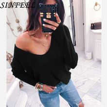 SINFEEL Sexy off shoulder V-neck Knitted Sweater Women Brand Black Loose Pullovers Knitwear Autumn Winter 2018 jumper pull femme