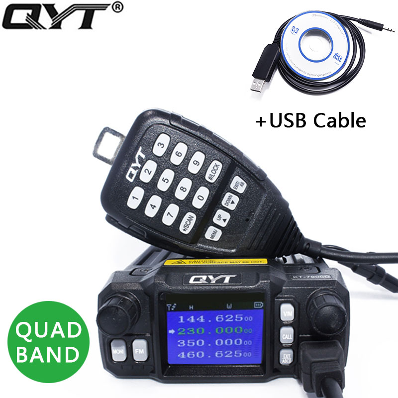 QYT KT 7900D Quad Band Mobile Radio 136 174MHz 220 260MHz 350 390MHz 400 480MHZ For