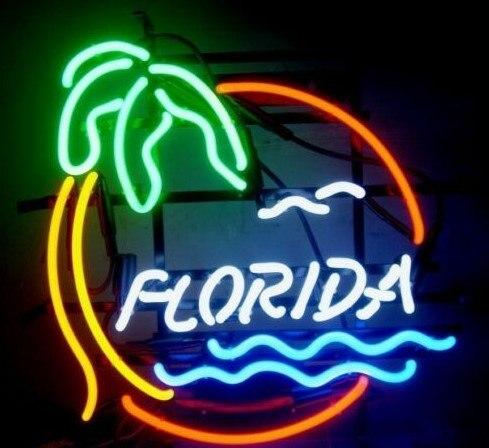 Personnalisé Plage De Floride Pam Arbre Verre Néon Lumière Signe de Barre De Bière