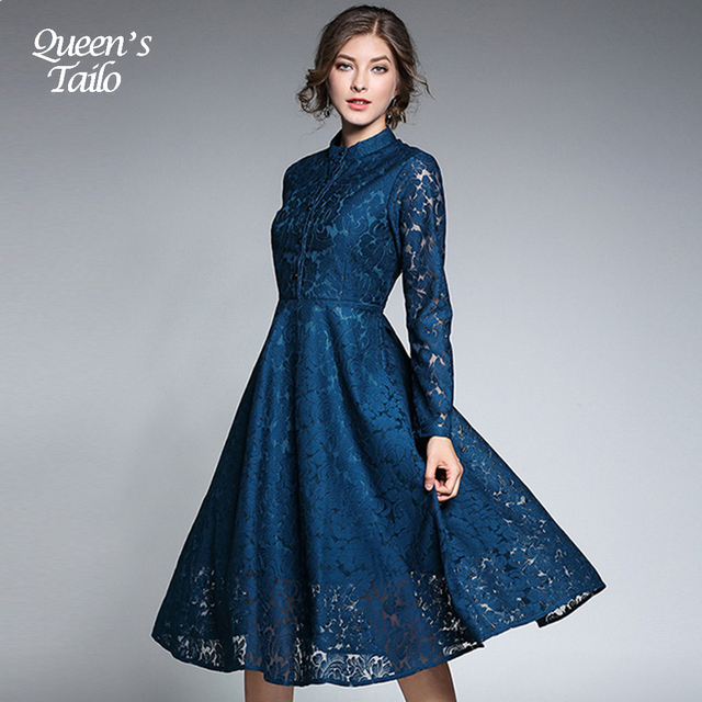 67fa581903f NEW Vintage Slim Lace Dress Woman Autumn Long Sleeve Elegant Midi Dress  Female A-Line Party Dress 8094