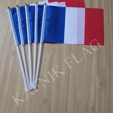 KAFNIK,5pcs 14*21CM France Flag the hand national flag with Pole Handing flag,free shipping