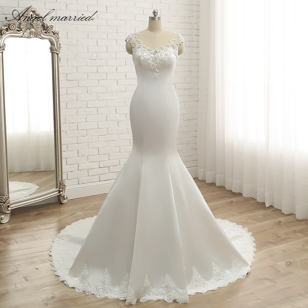 angel married wedding dresses simple mermaid white satin bridal dress appliques lace robe de