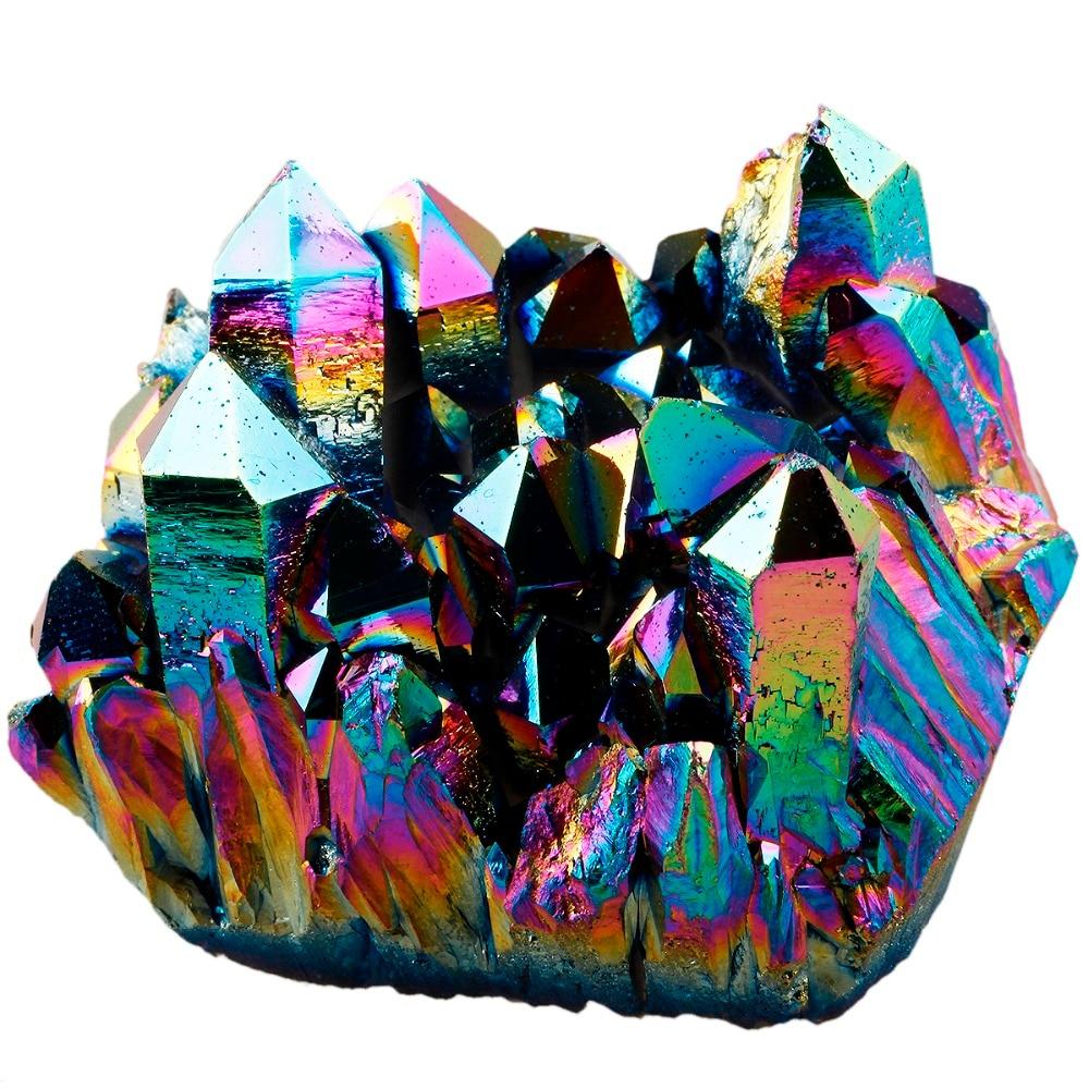 SUNYIK Rainbow Flame Aura Titanium Quartz Crystal Cluster Drusy Geode Gem Stone Energy Healing Specimen Decoration
