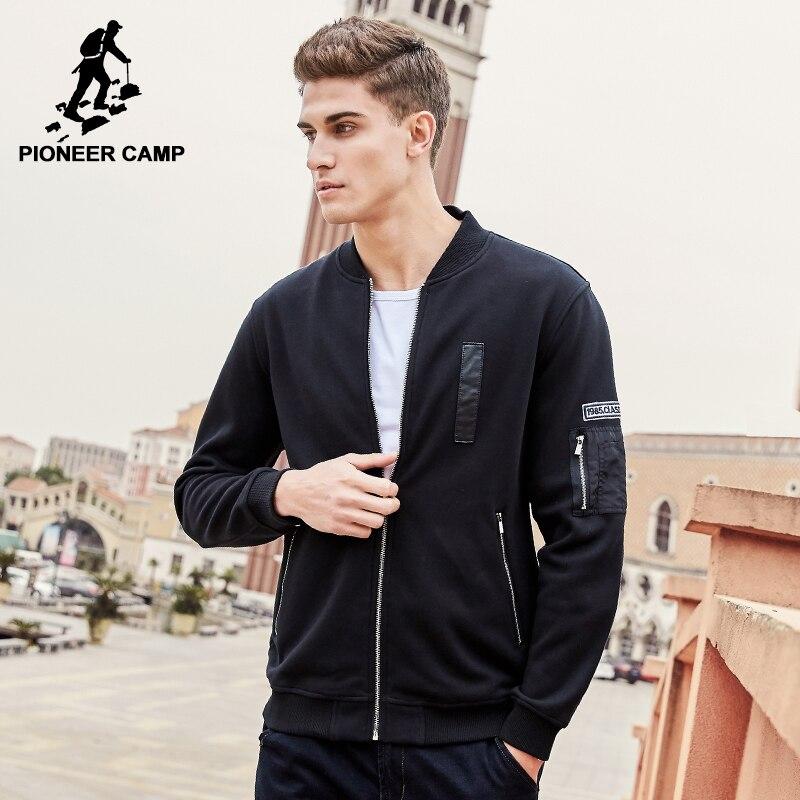 Pioneer Camp casual cremallera hombres hoodies marca-ropa moda lana gruesa sudadera algodón de calidad superior 100% 520032
