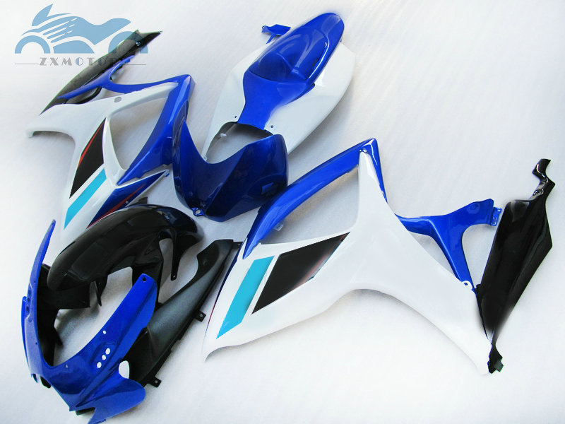 Customized Injection <font><b>Fairing</b></font> for SUZUKI 06 <font><b>07</b></font> K6 <font><b>GSXR</b></font> <font><b>600</b></font> 750 sport <font><b>fairings</b></font> <font><b>kit</b></font> GSX R750 2006 2007 GSXR600 white blue bodywork image