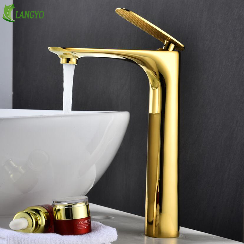 LANGYO Luxury Basin Faucet Brass Made Tall Faucet White Sink Mixer Tap Vanity Faucet Hot Cold Water Golden Bathroom Faucet mixer donyummyjo luxury bathroom basin faucet brass golden polish swan shape single handle hot&cold water vanity sink mixer tap page 8