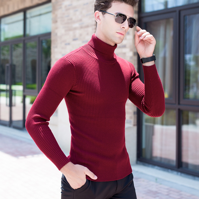 2017 Winter Europe and the United States British tough guy gentleman high collar sweater pure color stretch Slim long sweater