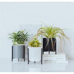 Decorativo Moderno Ferro Rack Holder Desktop con Porcellana di Ceramica Fioriera Giardino Succulente Cemento Vaso di Fiori