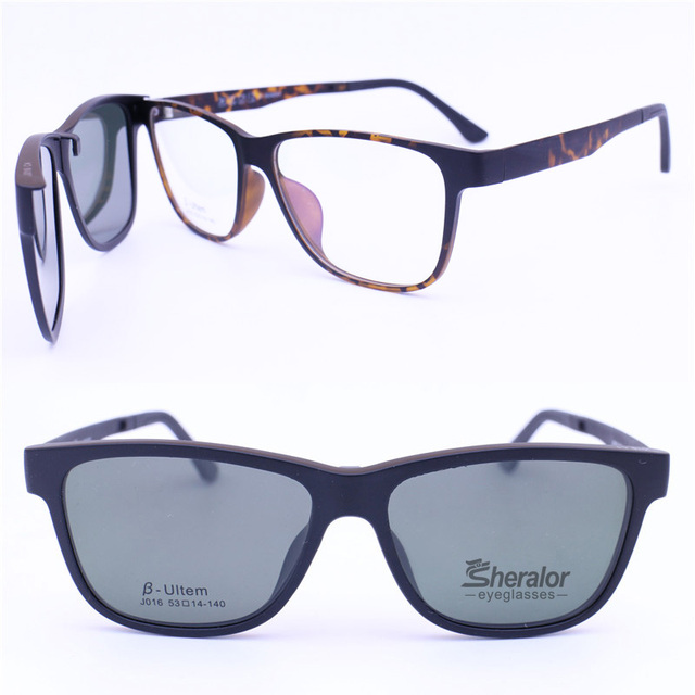 016 ULTEM square shape optical glasses frame with megnatic clip on  removable polarized sunglasses lens 3ee8e6f18