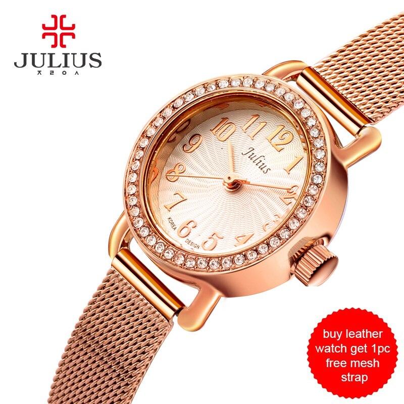 8792662d2a7 Julius mulheres relógio pulseira de couro preto relógio get 1 pcs livre  cinta de malha elegante vestido de strass relógio whatch ouro malha ja 679  em ...