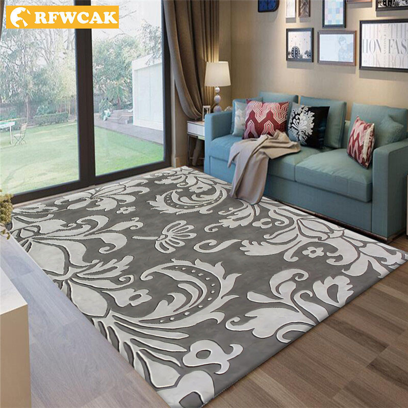 RFWCAK Modern Abstract Flower Art Carpet For Living Room Bedroom Anti-slip Large Rug Floor Mat Fashion Kitchen Carpets Area Rugs