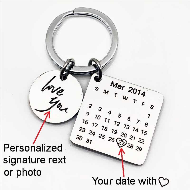Iutopian ส่วนบุคคลปฏิทิน Key chain ปฏิทินเน้นหัวใจวันที่สแตนเลสส่วนตัวของขวัญ # TKEY04