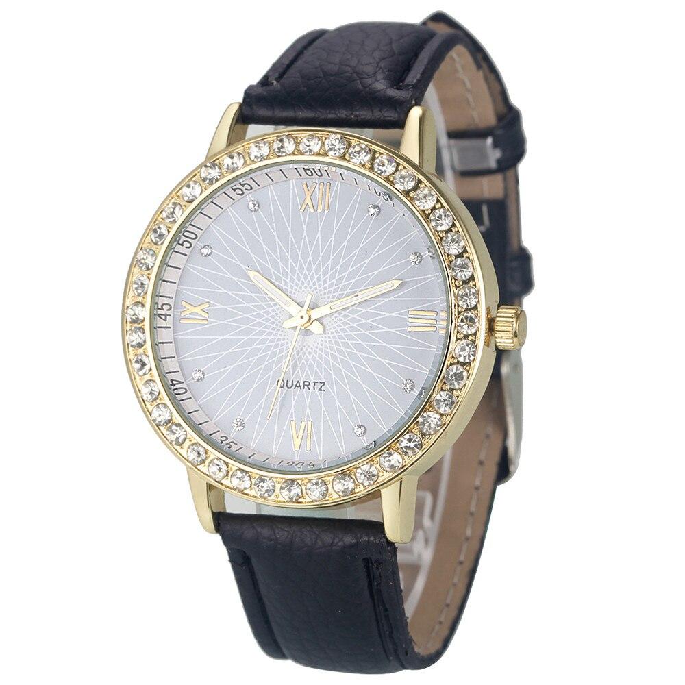 Элитный бренд часы Для женщин алмаз Роман Аналоговый кожа кварцевые наручные часы дамы час Кристалл платье часы Relogio feminino