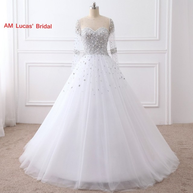 New Ball Gown Wedding Dresses With Long Sleeves Beaded Rhinestone ...
