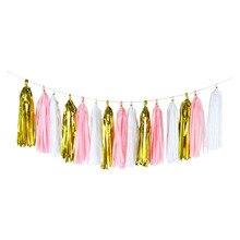 3 paquets (15 pièces) 12*35cm coloré papier de soie glands suspendus guirlande bannières bébé douche bricolage artisanat anniversaire mariage décoration
