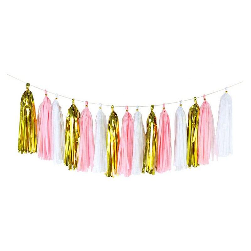3Packs(15Pcs) 12*35cm Colorful Tissue Paper Tassels Hanging Garland Banners Baby Shower DIY Craft Birthday Wedding Decoration