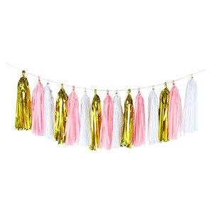 Image 1 - Papel de tecido colorido borlas pendurado guirlanda banners chuveiro do bebê diy artesanato decoração casamento aniversário