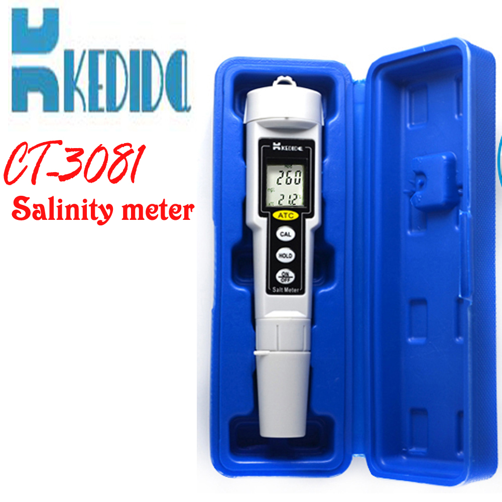 CT-3081 Pen type digital salt meter ,salinity meter, Water Salinity Tester waterproof, range:0-9999 mg/L brand kedida salt meter pen type lcd display digital salinometer water swimming pool spa salinity tester 0 to 1000 mg l ct 3080